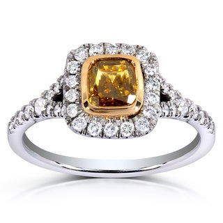 Annello 14k Two-tone Gold 1 2/5ct TDW Certified Cushion-cut Champagne Diamond Halo Ring (G-H, SI2-I1)