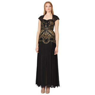Sue Wong Women's Black Sequin Embroidered Evening Gown