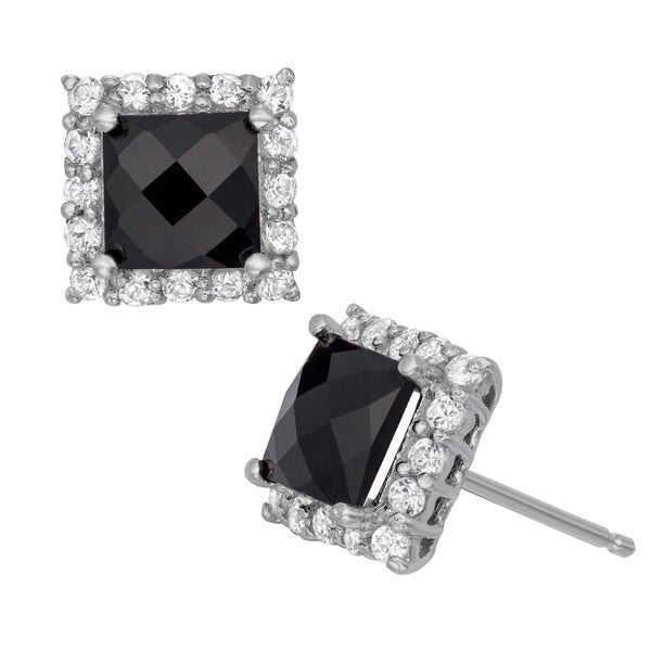 Sterling Silver Gemstone Pave Stud Earrings