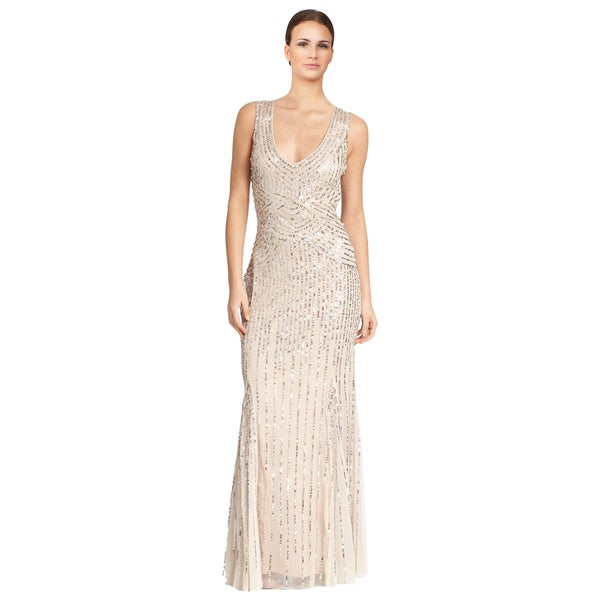 Aidan Mattox Women's Pale Pink Sequined Tulle Sleeveless Evening Gown