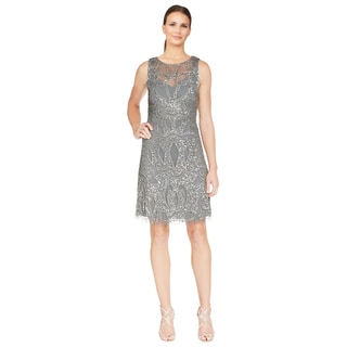 Aidan Mattox Women's Silver Embellished Chiffon Illusion Evening Dress