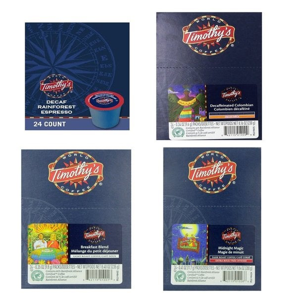 Timothy's World Coffee K-Cup 96-Pack Bundle (Decaf Columbian, Breakfast Blend, Midnight Magic and Rainforest Espresso Coffee)