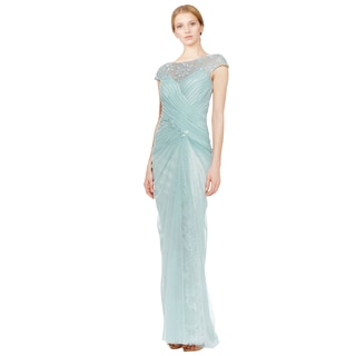 Tadashi Shoji Women's Green Lace-yoke Beaded Evening Gown