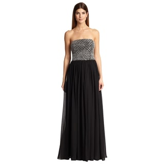 Aidan Mattox Women's Black and Silver Strapless Beaded Chiffon Evening Gown