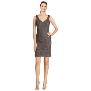 Sue Wong Women's Grey Beaded Soutache Low-back Sheath Dress