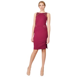 Emilio Pucci Women's Purple Lace Inset Fitted Sheath Dress