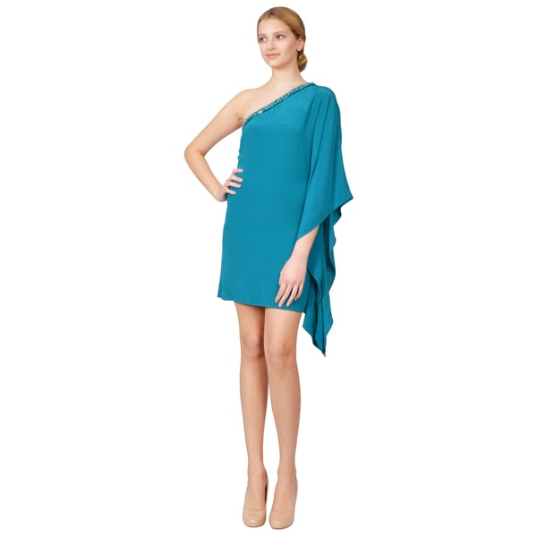 Roberto Cavalli Women's Turquoise One-shoulder Crepe Silk Beaded Dress