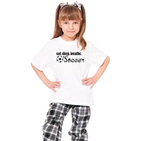 Youth White 'Eat. Sleep. Breathe. Soccer' Print Cotton T-shirt