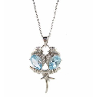 Kabella Sterling Silver Blue Topaz Lovebirds Pendant Necklace