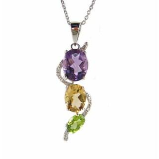 Kabella Sterling Silver Multi-gemstone Chakra Journey Pendant Necklace