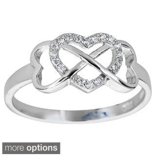 Decadence Sterling Silver Cubic Zirconia Interlocking Heart and Infinity Ring