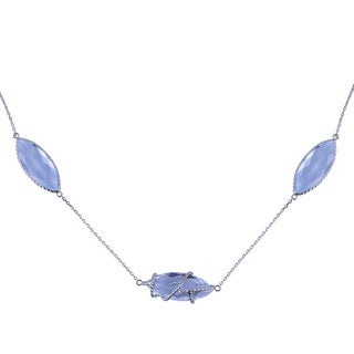 14k White Gold Blue Topaz Marquise Wire Pendant Necklace