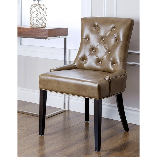 Abbyson living napa brown leather tufted dining chair for Tufted leather dining room chairs