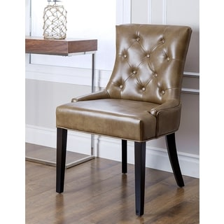 ABBYSON LIVING Napa Brown Leather Tufted Dining Chair