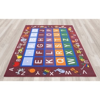 Jenny Babies Collection Red Non-slip Rubber Children's Educational Design Area Rug (7'10 x 10'6)