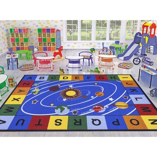 Ottomanson Jenny Babies Collection Multicolor Non-slip Rubber Children's Educational Design Area Rug (5'3 x 7'3