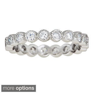 Sterling Silver Cubic Zirconia Bubble Micropave Eternity Ring