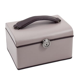 Kara Taupe/ Brown Leather Two-level Jewelry Box