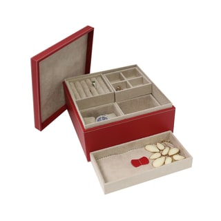 Allie Red Leather Studded Jewelry Box