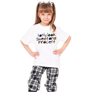 Youth White Printed 'I Only Look Sweet And Innocent' Cotton T-shirt