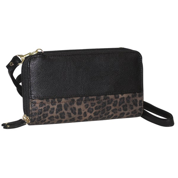Buxton Women's Posh Cheetah Double Zip Organizer