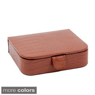 Audrey Crocodile Embossed Leather Jewlery Case