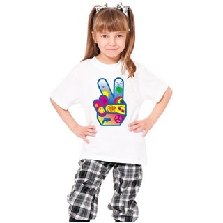 Youth White 'Peace Sign Hand' Print Cotton T-shirt