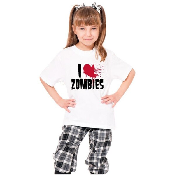 Youth White 'I Love Zombies' Print Cotton T-shirt