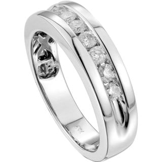 14k White Gold 0.57ct TDW Round-cut Diamond Unisex Band Ring (G-H, SI3)
