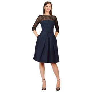 Carolina Herrera Women's Navy Silk Faille Bustier Pleated Lace Cocktail Dress