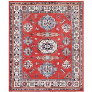 Herat Oriental Afghan Hand-knotted Tribal Super Kazak Red/ Ivory Wool Rug (8'2 x 10'1)