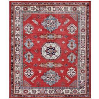 Herat Oriental Afghan Hand-knotted Tribal Super Kazak Red/ Ivory Wool Rug (8'2 x 9'11)