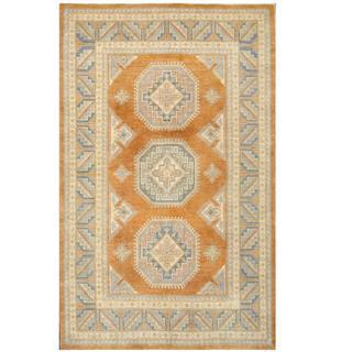 Herat Oriental Afghan Hand-knotted Tribal Kazak Gold/ Blue Wool Rug (6'2 x 9'10)