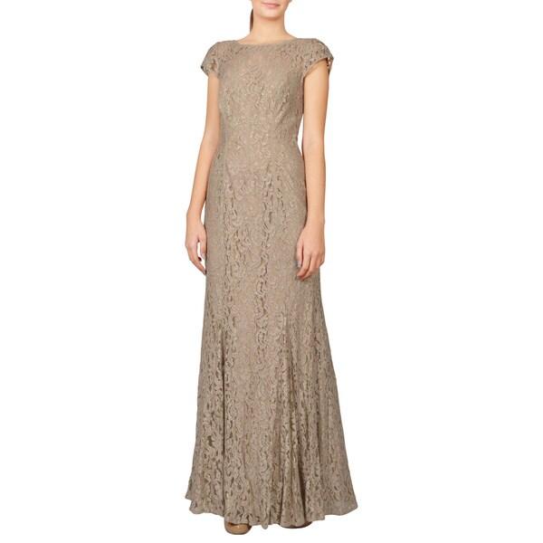 ML Monique Lhuillier Women's Women's Gold Lace Cap Sleeve Illusion Evening Gown