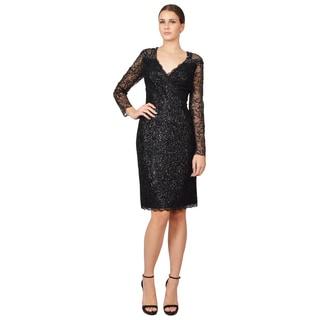 Badgley Mischka Women's Black Sequined Long Sleeve Cocktail Dress