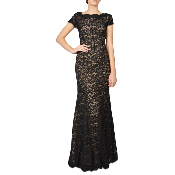 ML Monique Lhuillier Women's Black Scalloped Lace Evening Gown