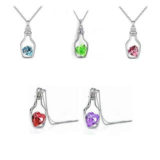 Princess Ice Platinum-plated Crystal Heart In A Drifting Bottle Pendant