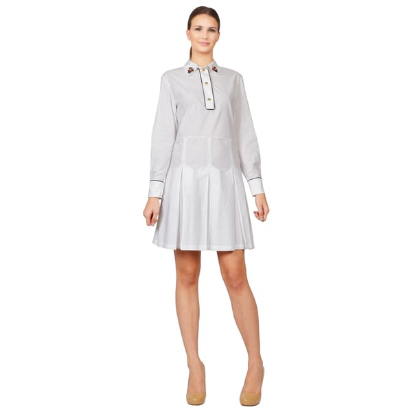Marni Women's White Cotton Poplin Jewel Collar Dress