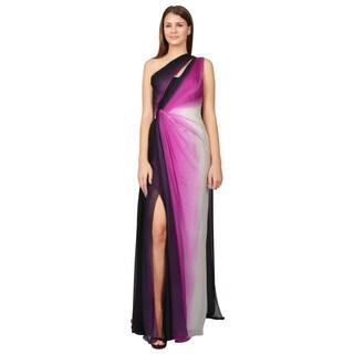 Monique Lhuillier Women's Raspberry Ombre One-shoulder Draped Evening Gown