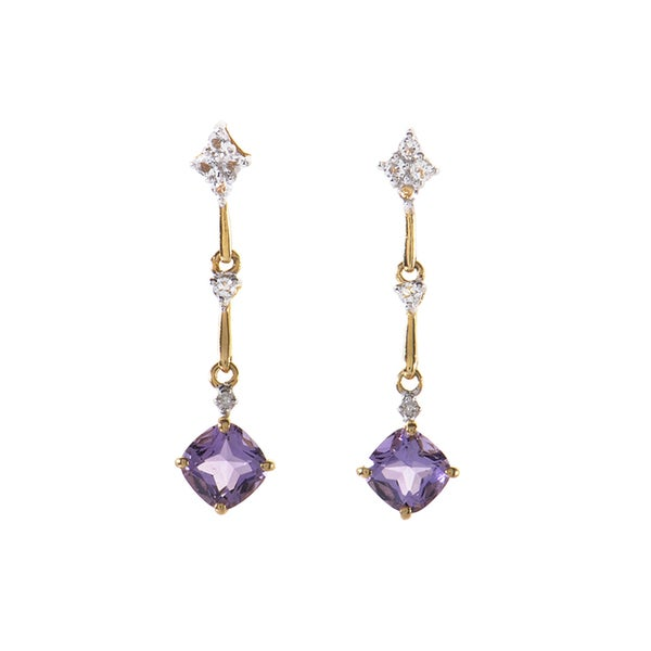 14k Yellow Gold Amethyst and Diamond Drop Earrings