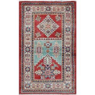 Herat Oriental Afghan Hand-knotted Tribal Super Kazak Red/ Ivory Wool Rug (2'6 x 4'2)