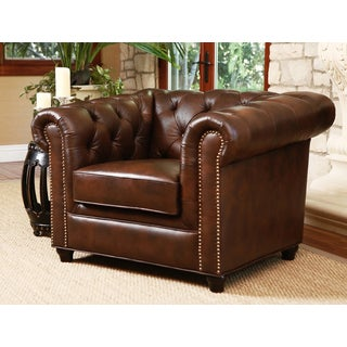 ABBYSON LIVING Vista Tufted Distressed Brown Italian Chesterfield Leather Armchair