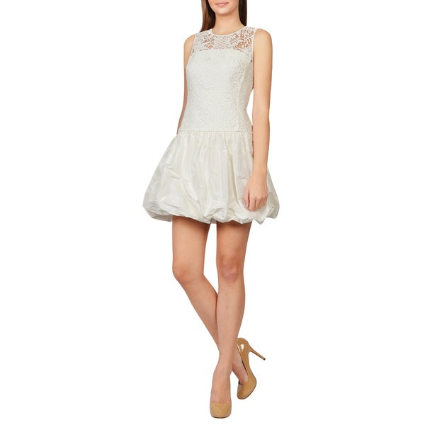 Rebecca Taylor Women's White Lace Taffeta Voluminous Bubble Dress