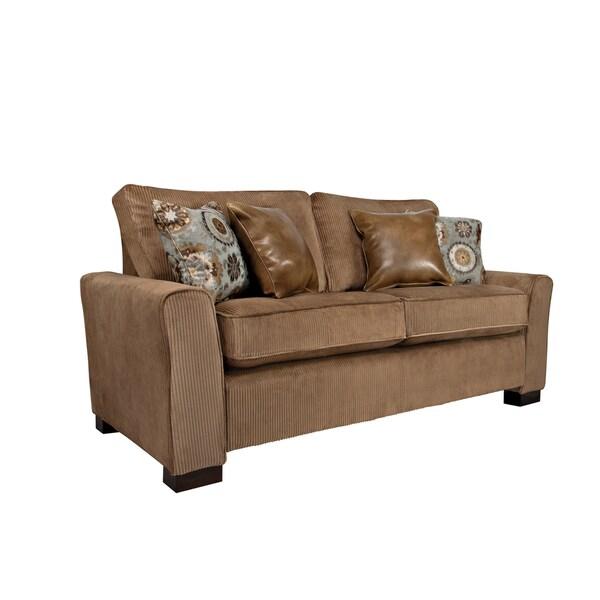 Better Living Sandy Brown Ribbed Velvet Sofa
