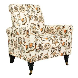 Portfolio Hyde Orange and Cream Floral Arm Chair
