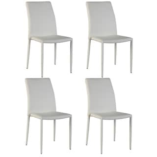 Christopher Knight Home Farrah White Fully Upholstered Stackable Side Chair (Set of 4)