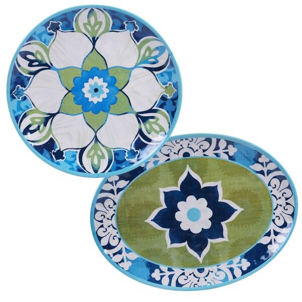 Certified International Barcelona Painted 2-piece Platter Set