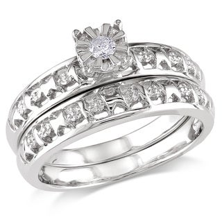 Haylee Jewels Sterling Silver Diamond Accent Bridal Ring Set