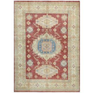 Herat Oriental Afghan Hand-knotted Tribal Kazak Red/ Ivory Wool Rug (8'11 x 12'4)