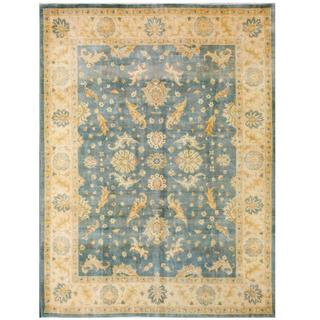 Herat Oriental Afghan Hand-knotted Tribal Kazak Blue/ Light Gold Wool Rug (8'11 x 11'10)